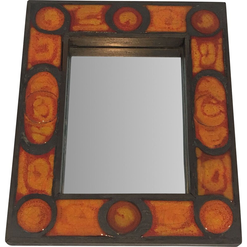 Vintage Ceramic Mirror in Orange tones 1970
