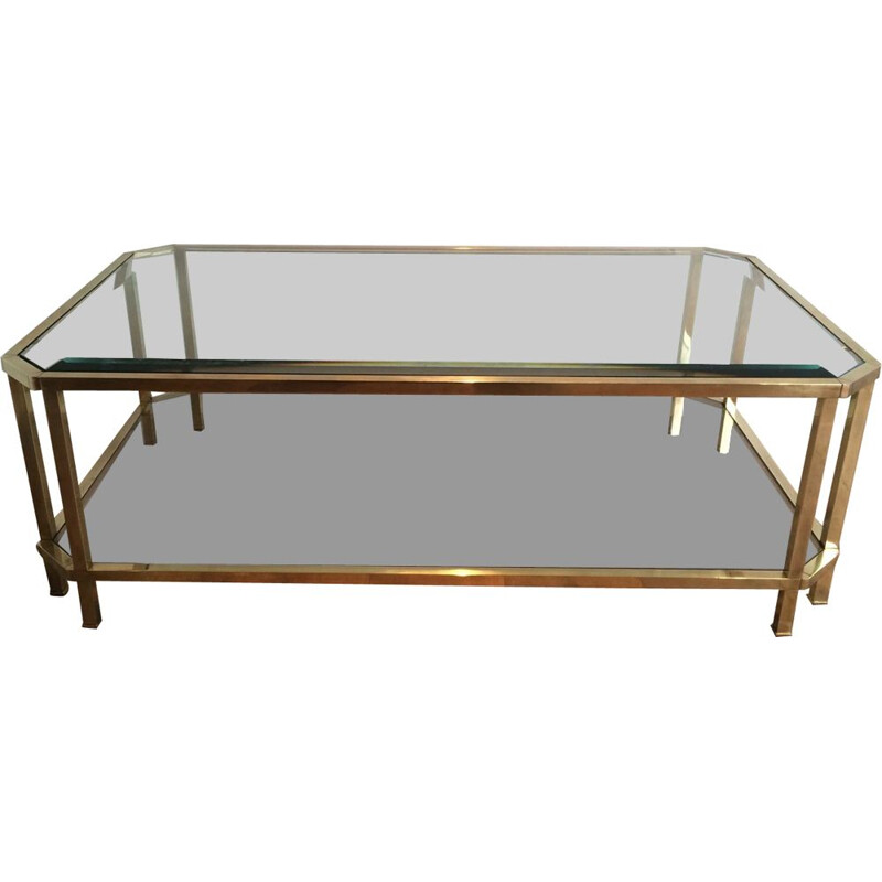 Vintage Octagonal Brass Coffee Table 1970