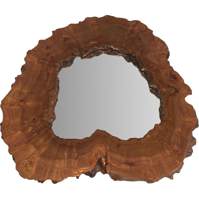 Vintage Free Form Mirror in Walnut Burr Walnut 1970