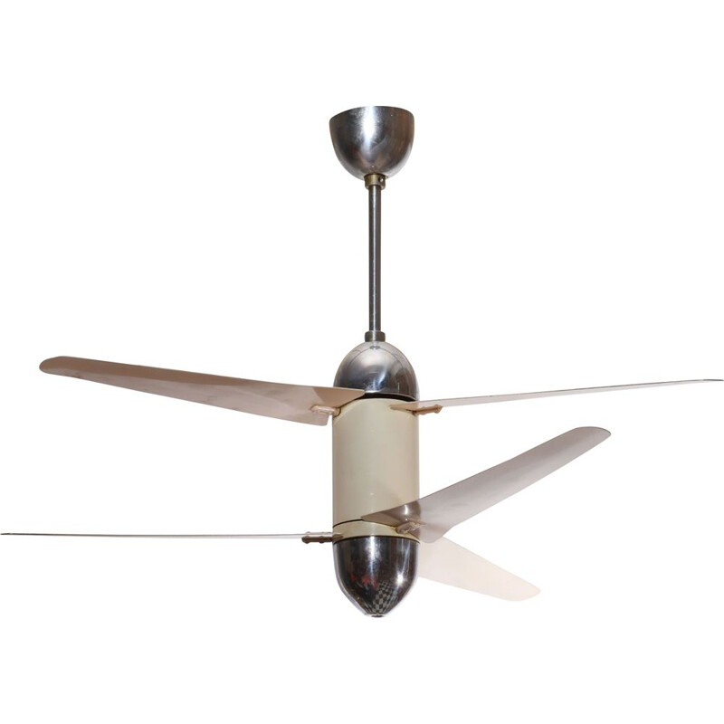 Vintage ceiling fan with 6 wings beige and chrome 1950
