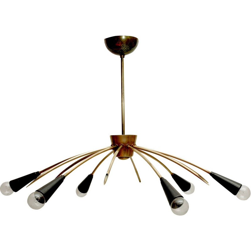 Vintage ceiling lamp sputnik in brass 1950s