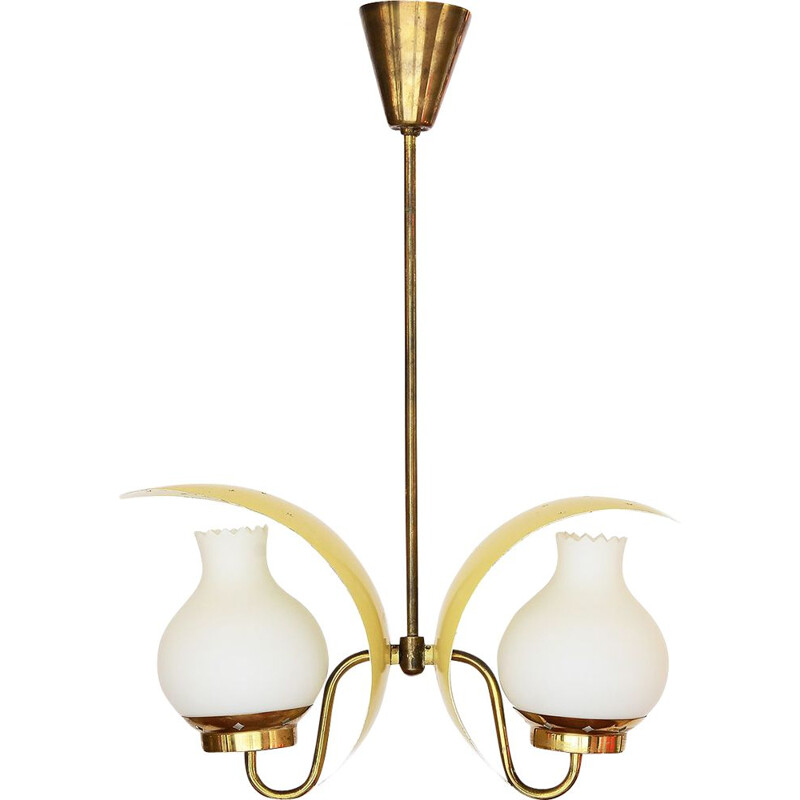 Vintage Double pendant lightchandelier by Bent Karlby for Lyfa. Denmark 1950s