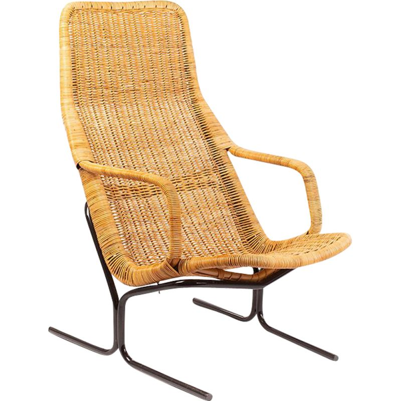 Vintage rattan lounge chair by Dirk van Sliedregt for Gebr. Jonkers Noordwolde 1940s