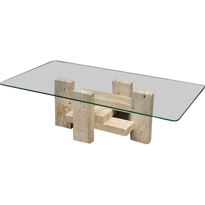 Vintage travertine coffee table by Willy Ballez, 1980