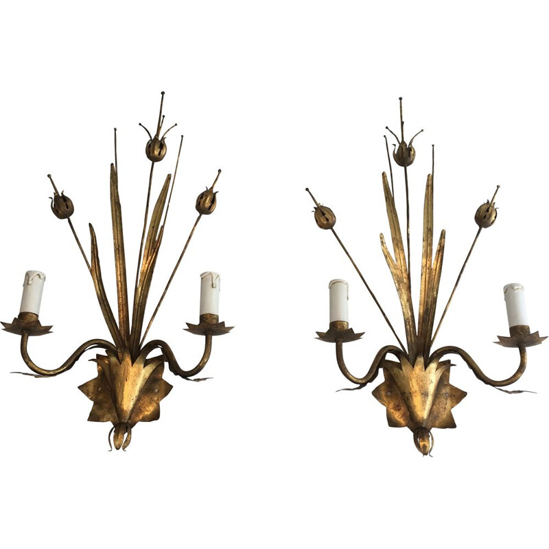 Pair of Golden Metal Vintage Sconces with Wheat Spurs 1970