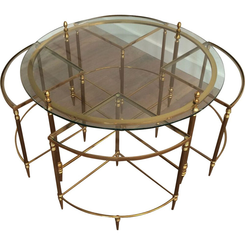 Vintage round Neoclassical Brass Low Table 1970
