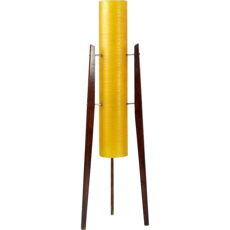 Vintage Freestanding Rocket Floor Lamp In Fiber Glass And Wood, Novoplast, Czechoslovakia, 1950