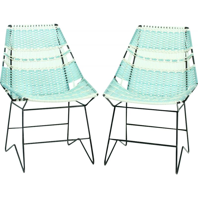 Pair of Vintage Garden Seating  Armchairs With Table, Czechoslovakia 1960s