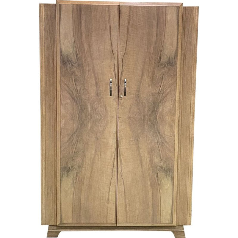 Vintage Art Deco English walnut wardrobe