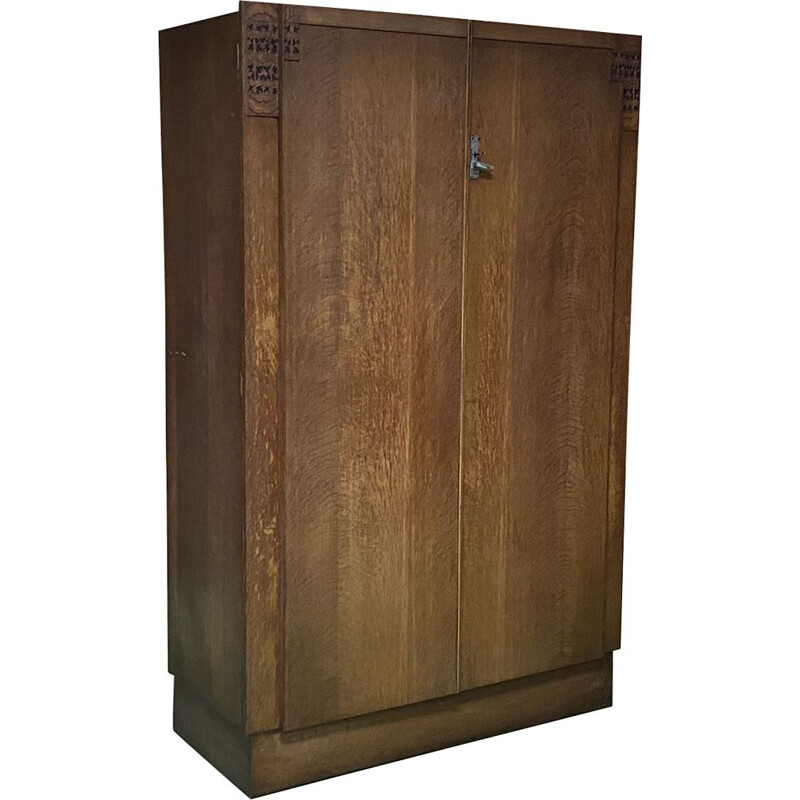 Vintage art deco english oak wardrobe