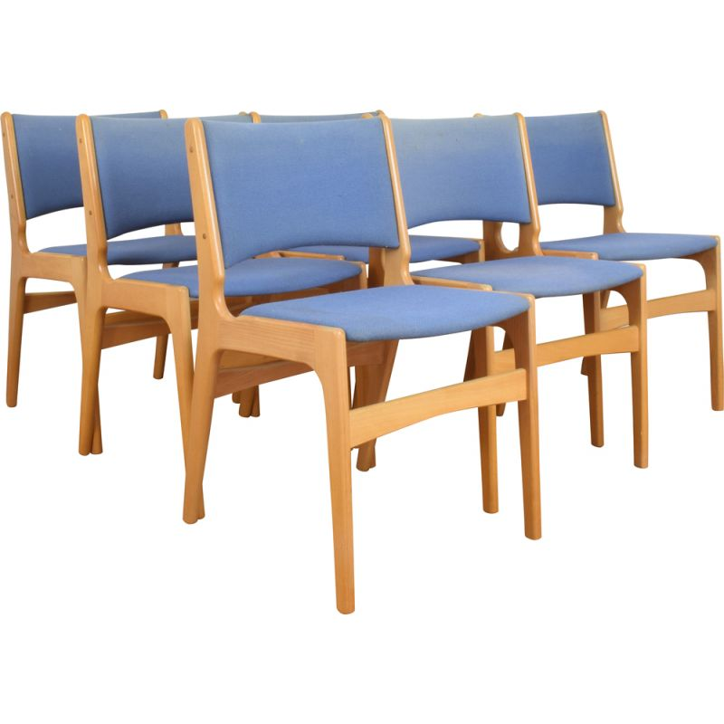 Set of 6 Mid-Century Dining Chairs by E. Buch, Danish 1960s