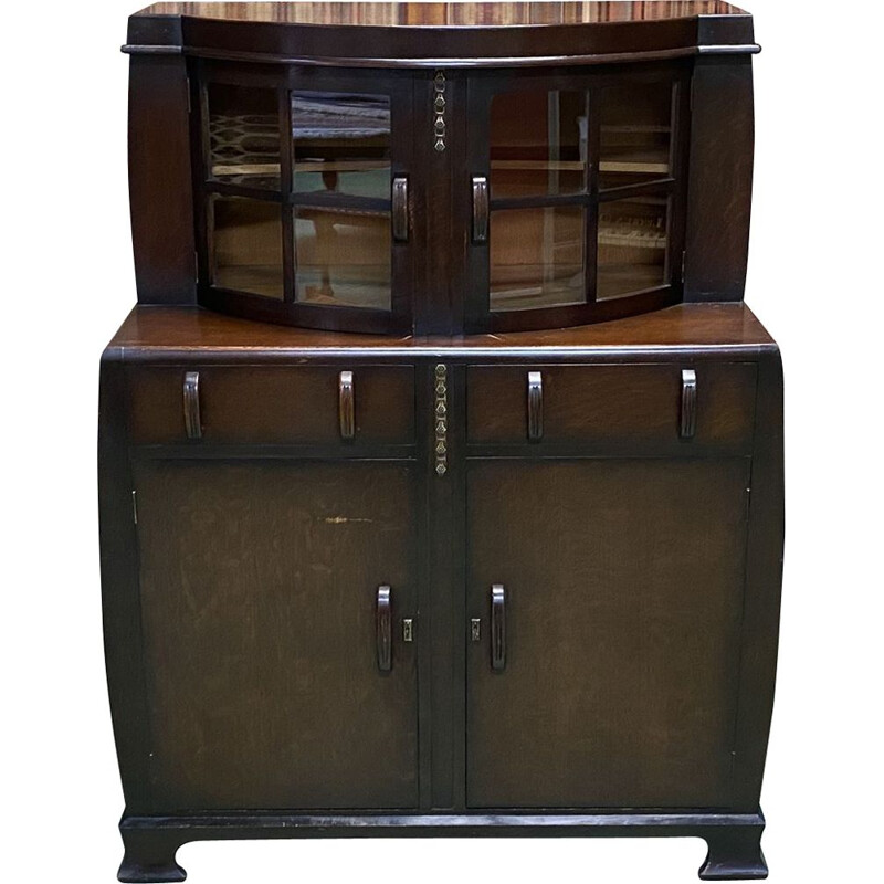 Vintage English Art Deco oak sideboard 1930