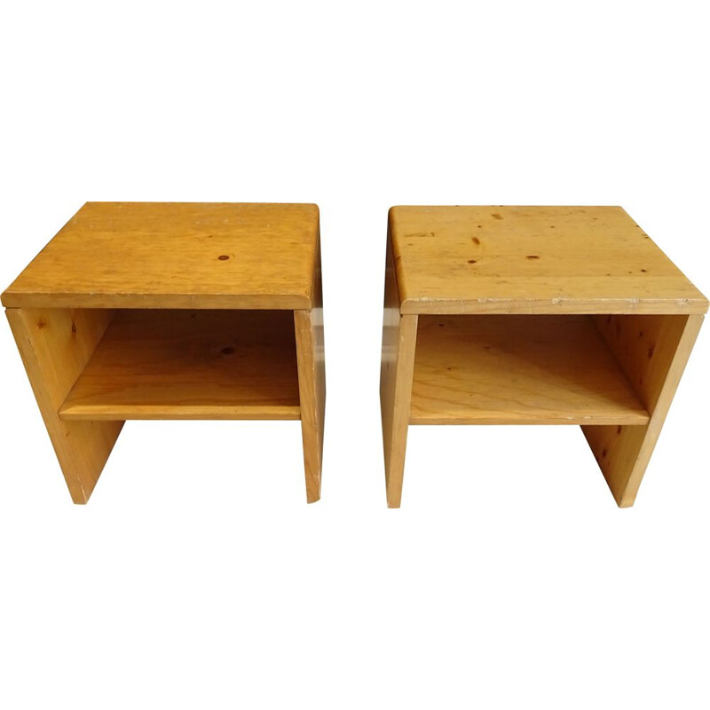 "Pair of ""les Arcs"" pine bedside tables from the Perriand apartments"