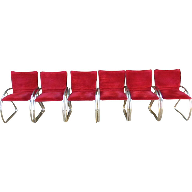 Set of  6 Vintage armchair in polished steel and cardinal velvet cardinal 1960s
