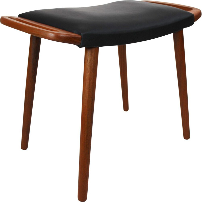 Vintage Stool in teak with black elegance leather dansih 1960s