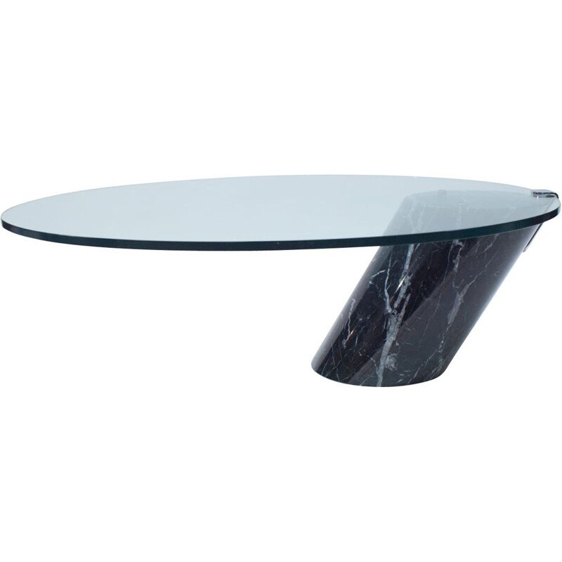 Vintage Black Marble and Glass Coffee Table Model K1000 by Team Form for Ronald Schmitt, 1970s