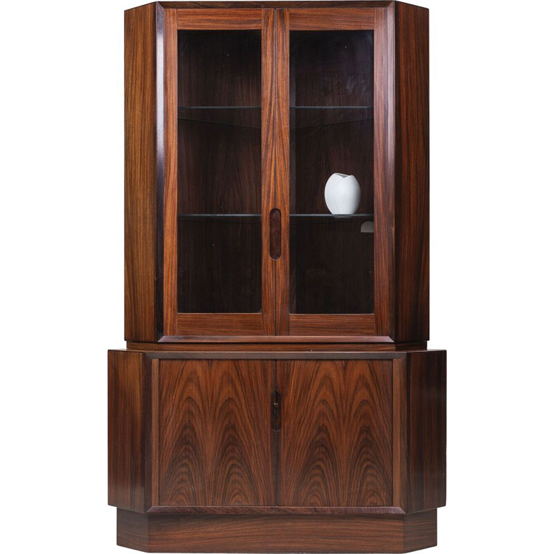 Vintage Rosewood Corner Cupboard with Glass Case, Danish 1960s