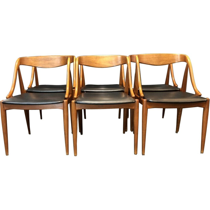 Set of 6 vintage chairs Johannes Andersen samcom edition