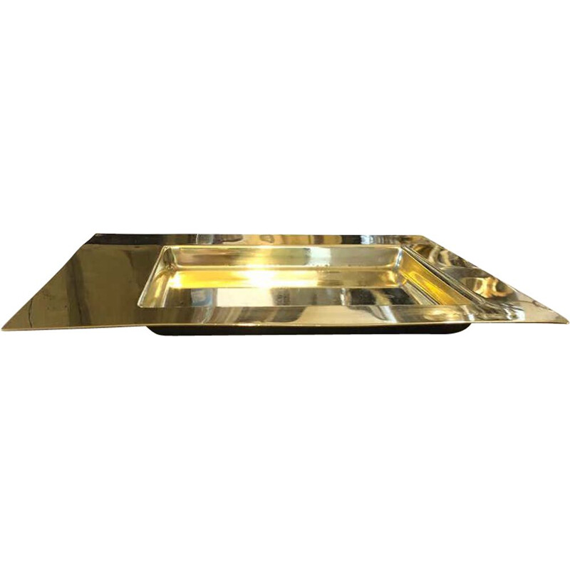 Mid-Century Squared Brass Tray by Cleto Munari, 1970