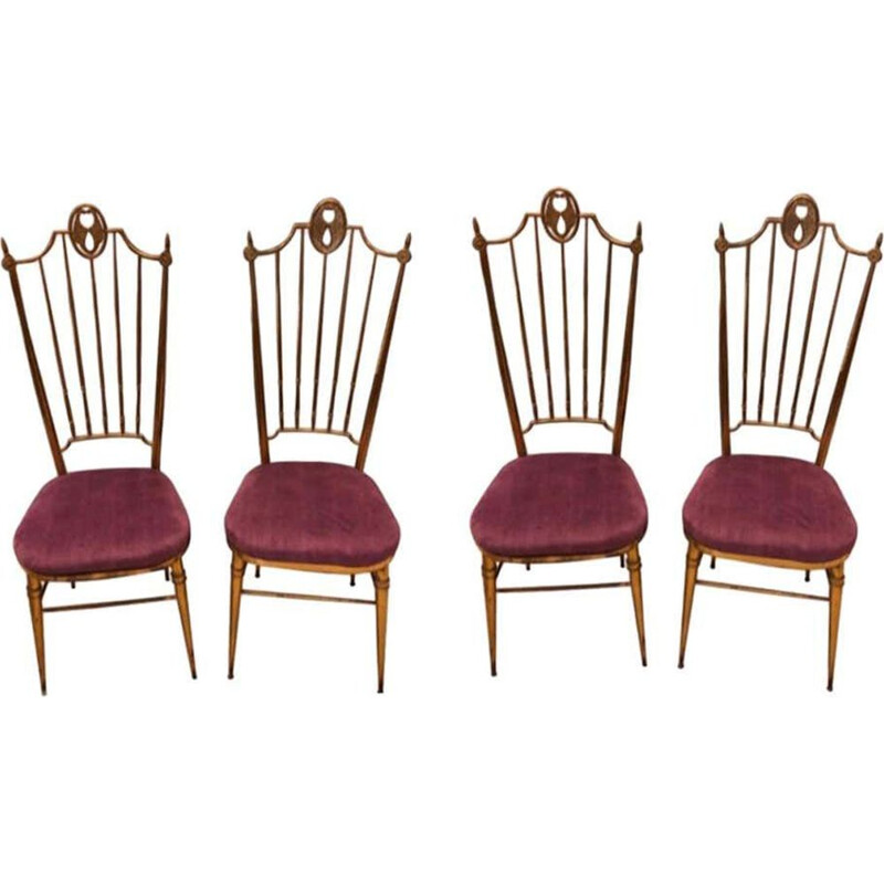 Set of 4 vintage Brass and Purple Velvet Chairs, Italy 1960