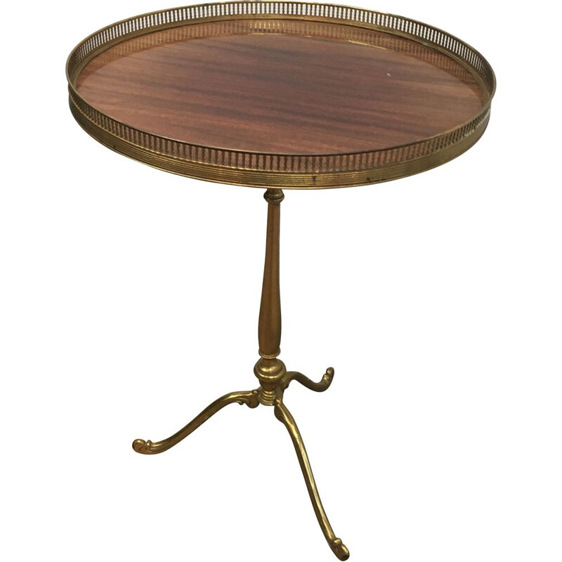 Vintage Round Pedestal Table in Brass with Mahogany Top Neoclassical 1940's