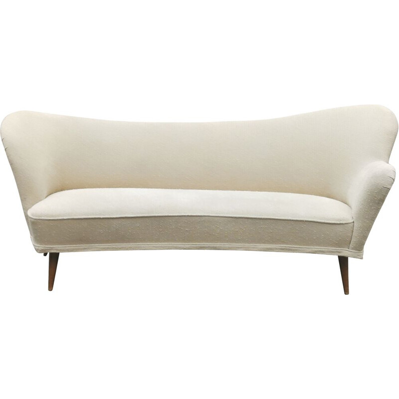 Vintage sculptural Meridienne sofa Swedish asymmetrical bow 1960