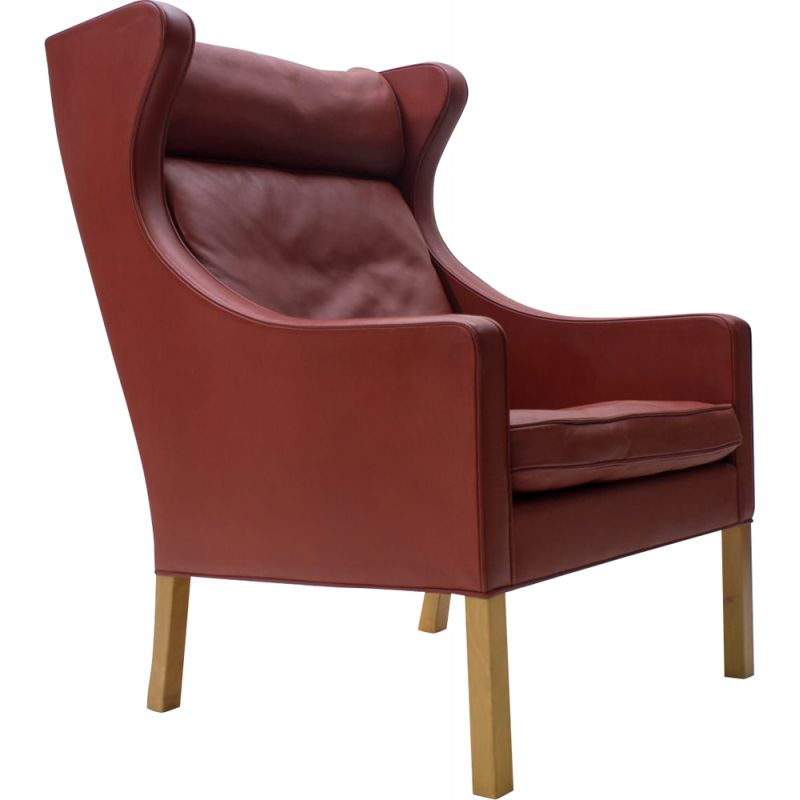Vintage Leather & Oak Wingback Chair Mod. 2204 by Børge Mogensen for Fredericia, 1980s