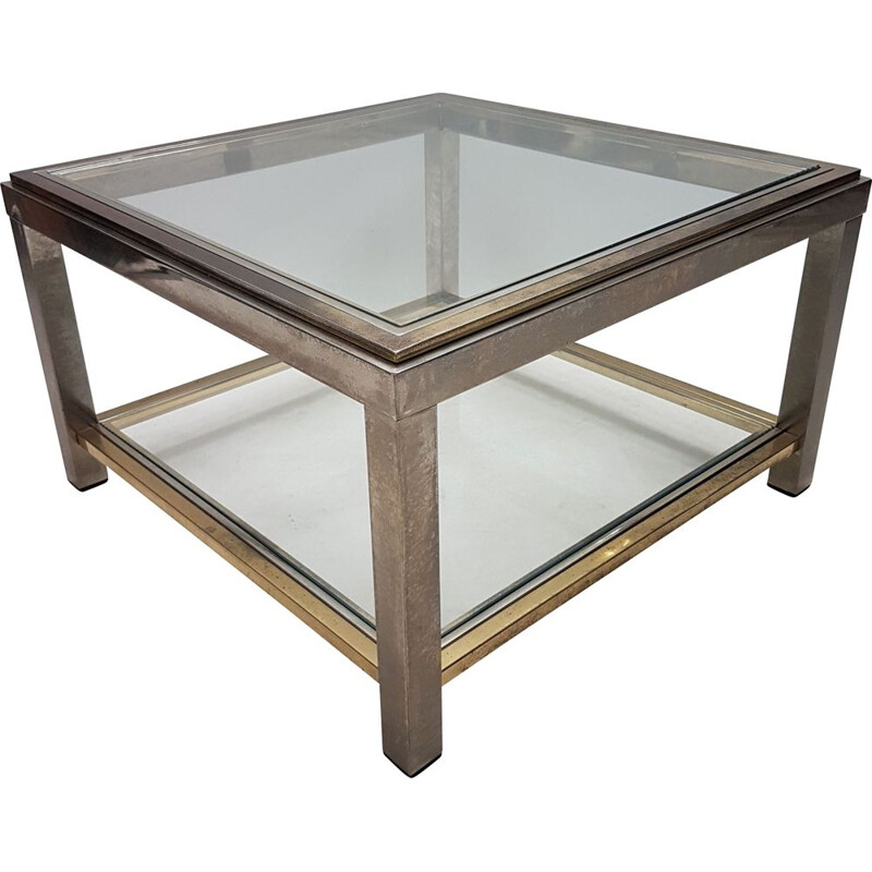 Vintage 2-tiers side table,  brass & stainless steel Willy Rizzo 1970s