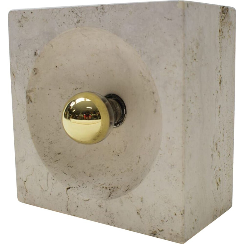 Vintage travertine table lamp by Giuliano Cesari for Nucleo Sormani, Italy, 1960