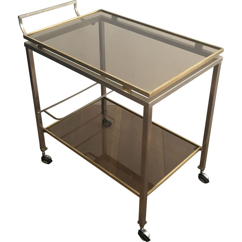 Vintage Brushed Steel and Brass 1970 Rolling Table