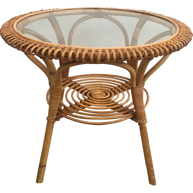 Vintage Round Rattan Bass Table 1950