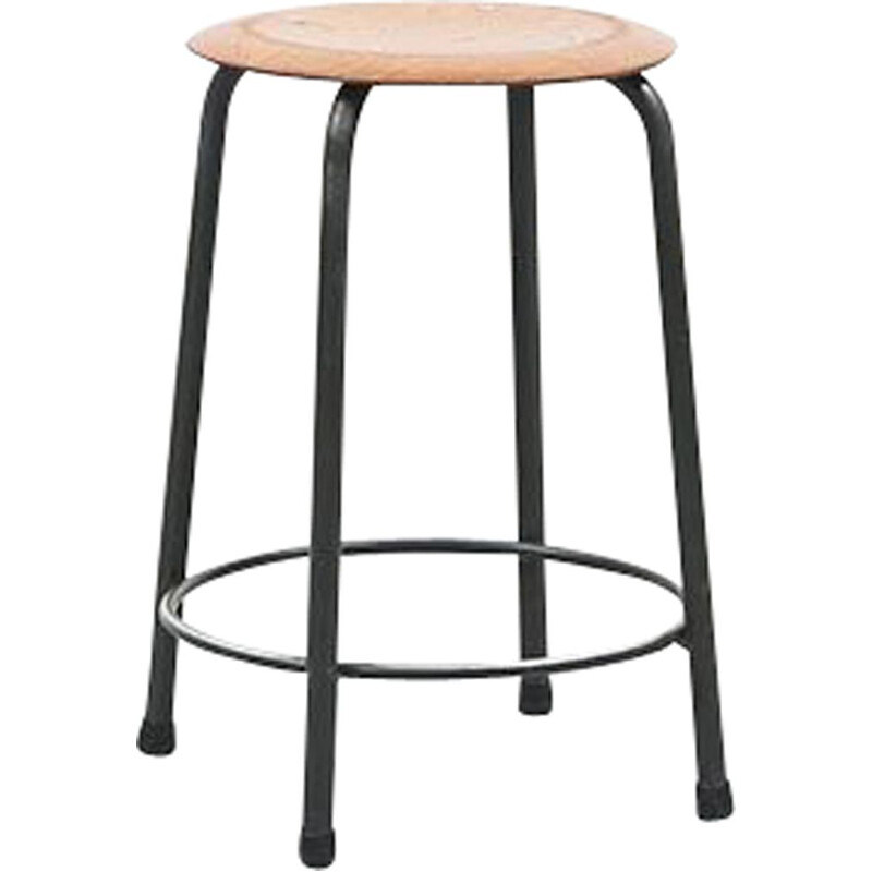 Vintage Pagholz Stool Circle grey oak 1960