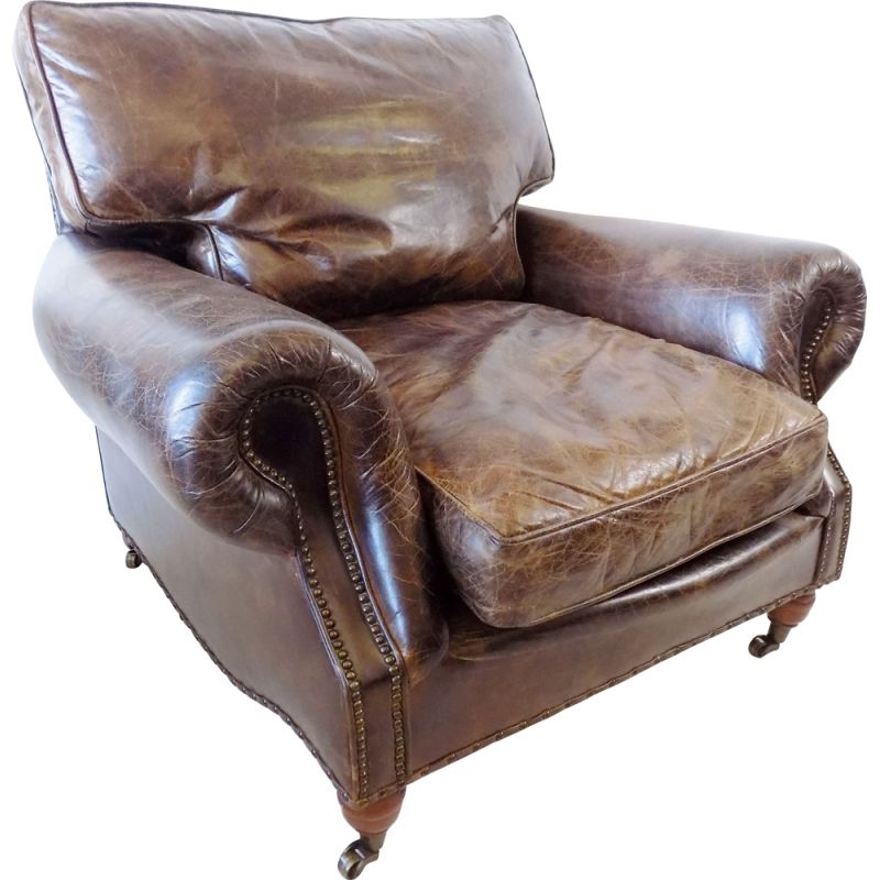 Vintage Brown leather armchair Chesterfield 1970s