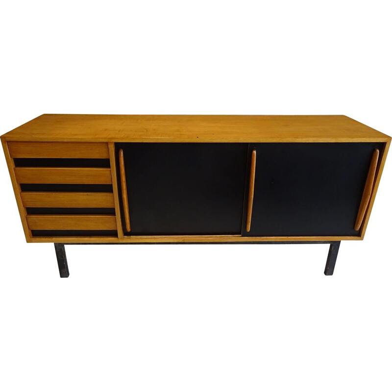 Vintage Cansado sideboard in black lacquered ash wood by Charlotte Perriand 1950s