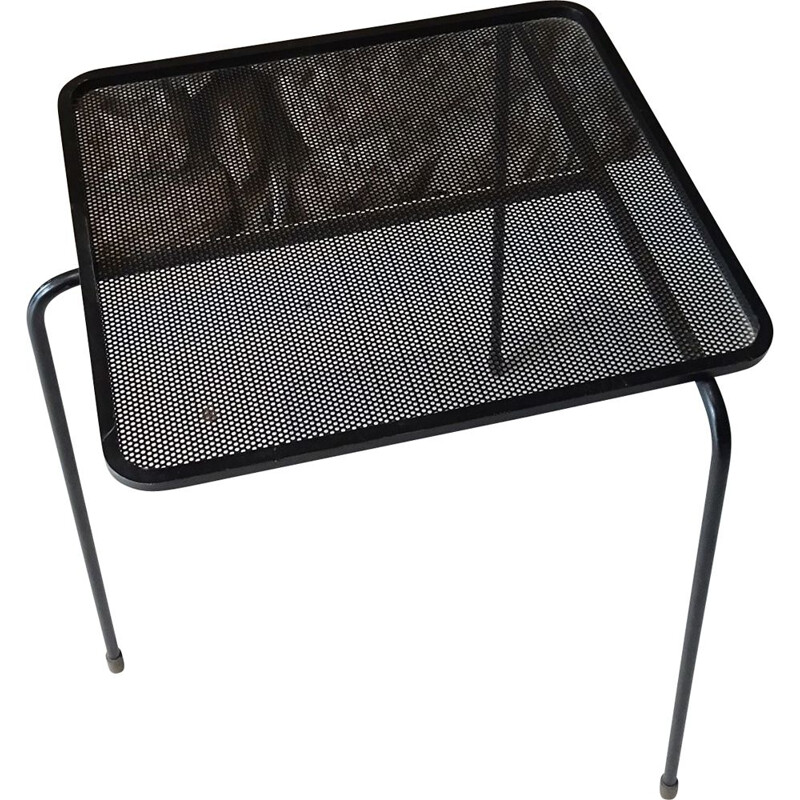 Vintage table model 'Soumba' by Mathieu Matégot Black lacquered perforated sheet metal