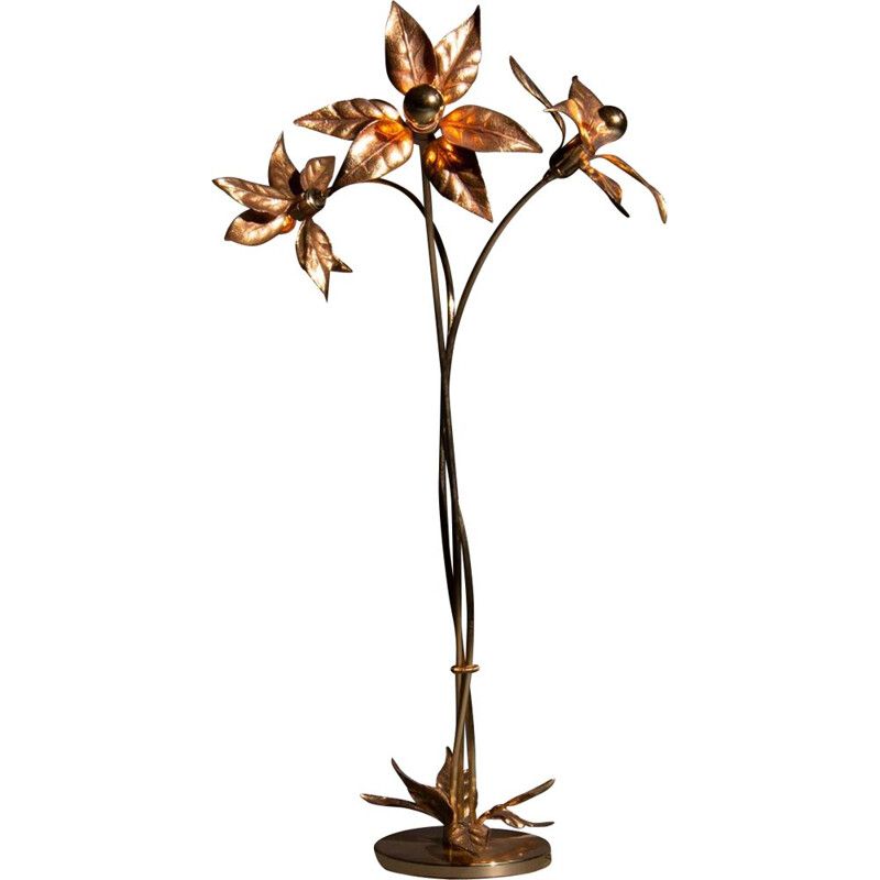 Vintage Willy Daro floor lamp with solid brass flowers Belgium 1970