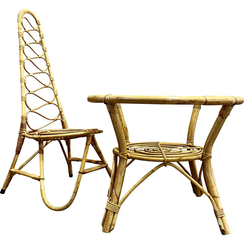 Duo vintage rattan table and chairs 1960