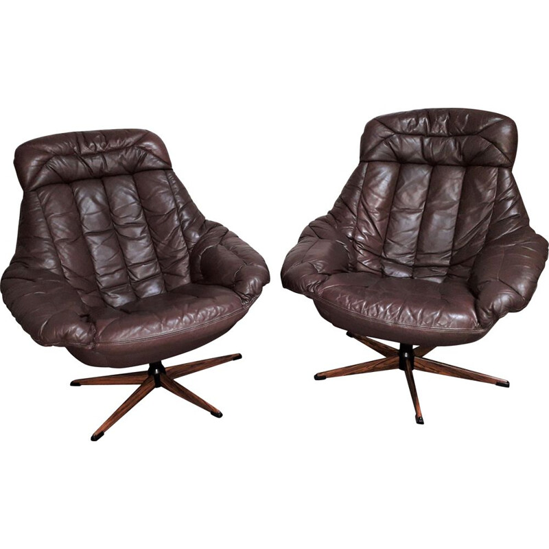 Pair of vintage brown leather armchairs patina by Henry Walter Klein 1970