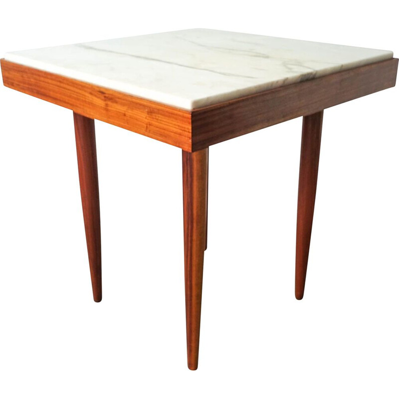 Vintage Tavern Table with Marble Top Portuguese, 1960