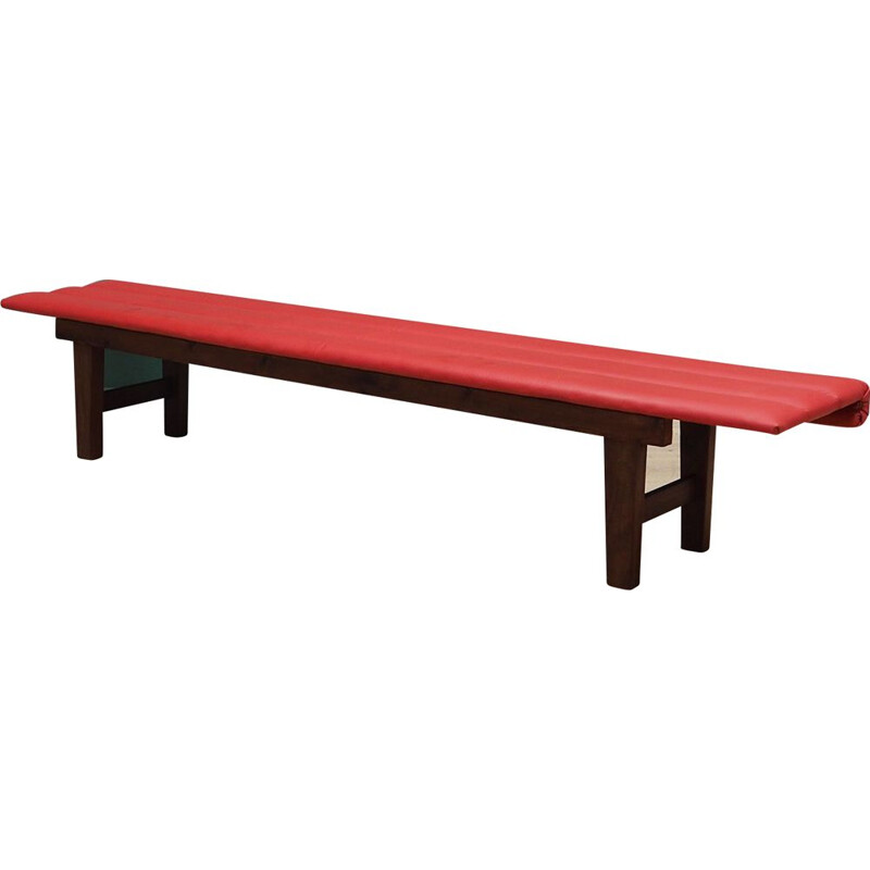 Vintage Bench red eco-leather, Danish 1990s
