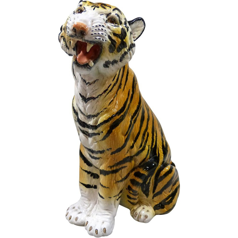 Large vintage terracotta tiger Italy 1960