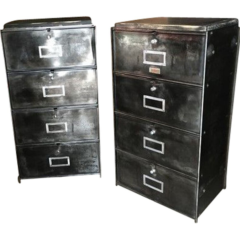 Pair of vintage industrial cabinets 4 flap 1950