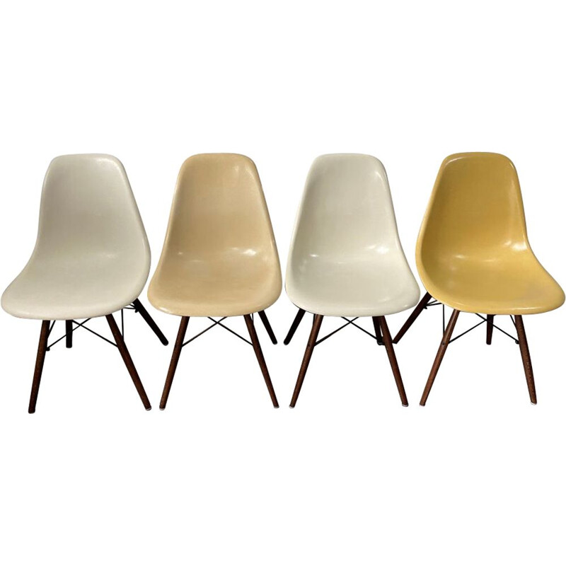 Set of 4 vintage chairs dsw fiber eames herman miller 1950