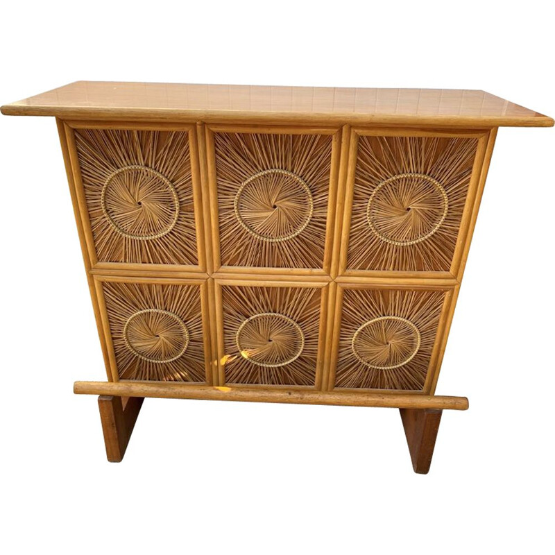 Vintage wooden bar counter and wicker wicker decorations 1960