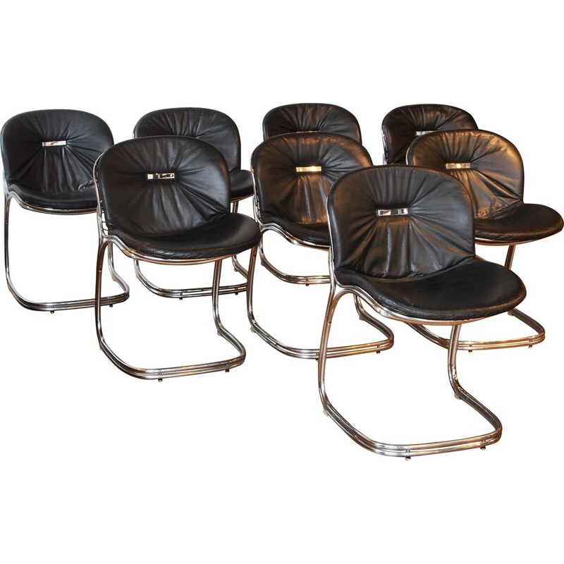 "Set of 8 Vintage Chairs "" Sabrina "" black leather, Gastone Rinaldi"