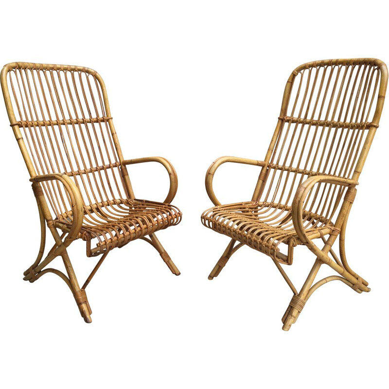 Pair of vintage armchairs in Rattan