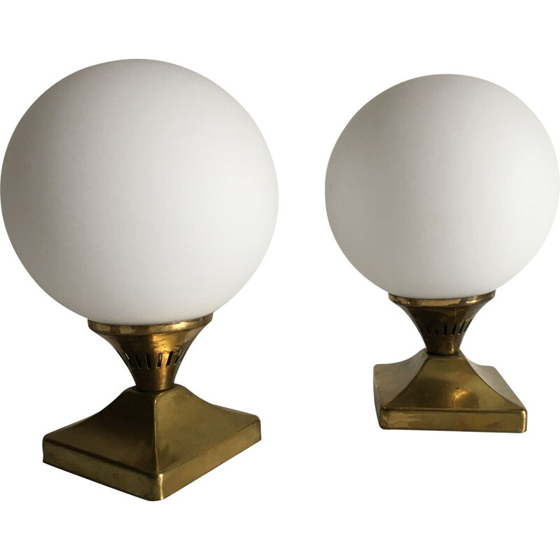 Pair of vintage brass and opaline balls 1950 lamps