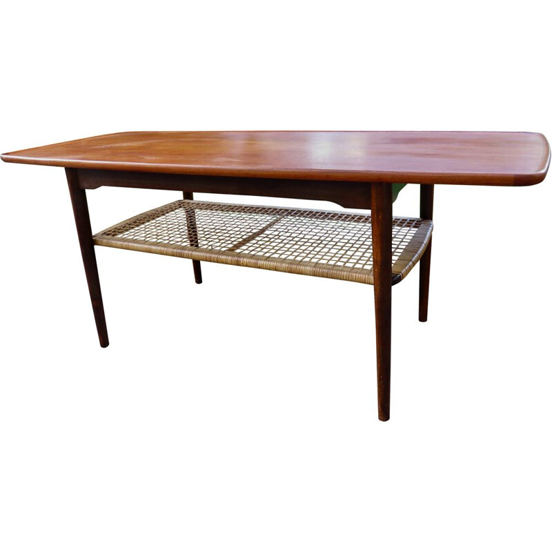 Vintage teak coffee table with double top, Denmark 1960