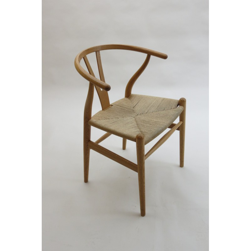 carl hansen wishbone chair in oak and paper cord hans wegner