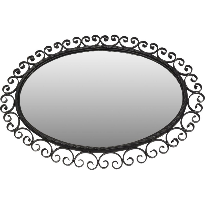 Vintage Elliptical mirror made of metalwork, Germany 1960s